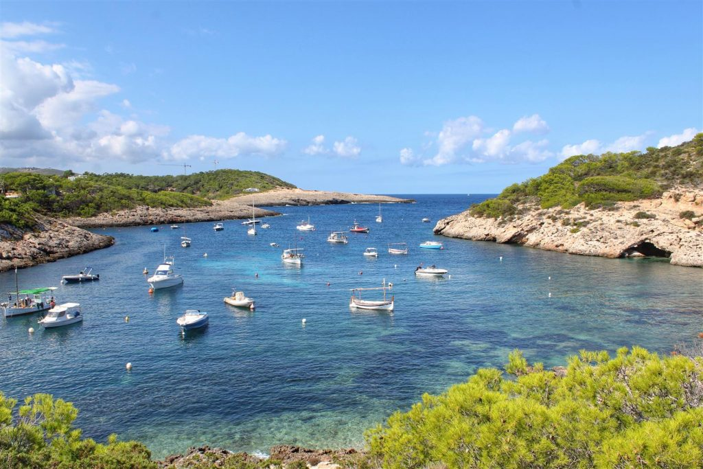 boats moored in bay off grid